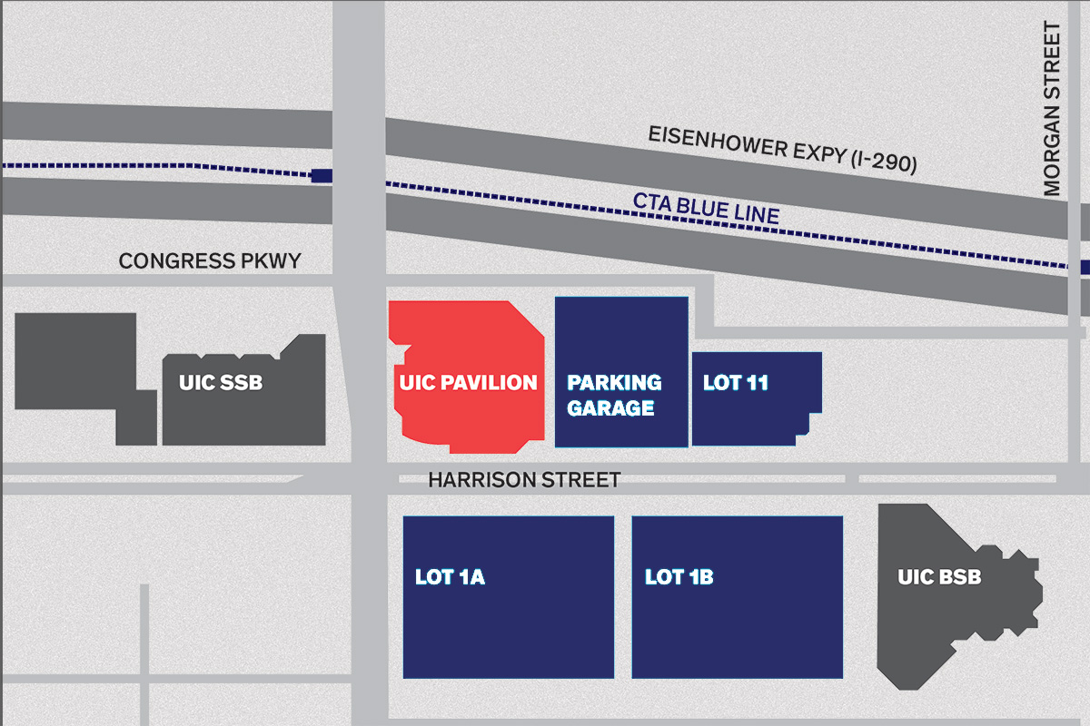 Map of parking near the UIC Pavilion